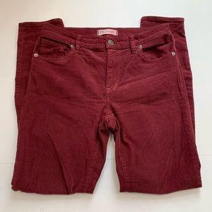 Madewell Red High Riser Skinny Corduroy Pants 27